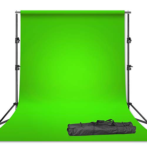 Limo Studio Photography Chroma Key Studio Backdrop Support Kit Set, Green Chroma Key Muslin Backdrops, Backdrop Support Stand with Carry Bag, AGG2983