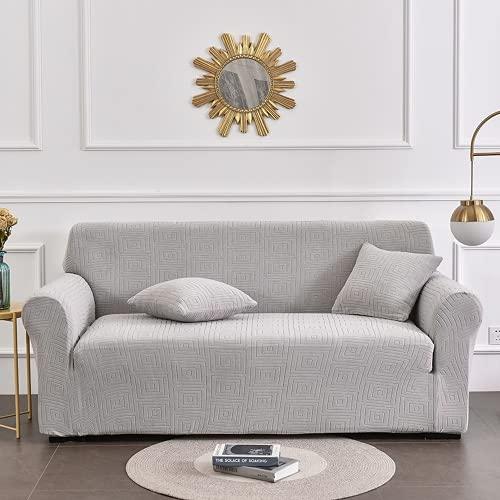 ABUKJM Fundas de Sofa Ajustables, Cubre Sofa de Tela elástica Jacquard de Punto, decoración del hogar de Estilo romántico, para Sala de Estar Protector Sofa (Moonlight Silver,1-Seater 90-140cm)