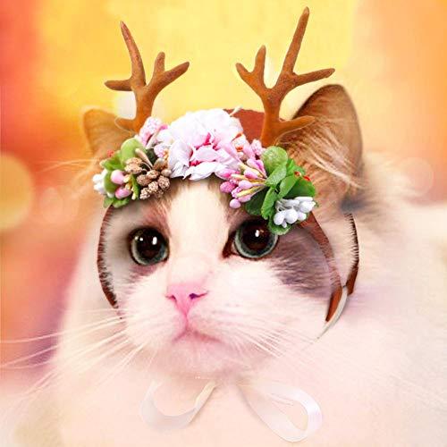 Accesorios Para Mascotas Encantadores Navidad Adorables Gatos Para Mascotas Cornamentas De Alces De Navidad Decoración Para Perros Santa Cornamentas De Renos De Flores Gorro Tocado