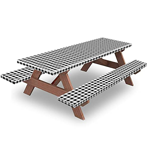 Picnic Table and Bench Fitted Tablecloth Cover, 3-Piece Set, KENOBEE Flannel Backing Elastic Edge Waterproof Wipeable Plastic Cover Vinyl Tablecloth for Home Goods Indoor Outdoor Patio, Black-White