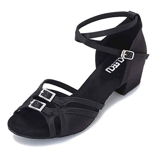 CLEECLI Low Heel Ballroom Dance Shoes Latin Salsa Shoes for Women Adjustable Toe Width 1.5 Inch Heel ZB21(8,Black)