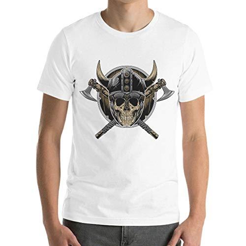 Herren T-Shirts Wikinger Wikingerhelm Schädel Axt Gedruckt Retro-Stil Doppelnadelärmel Arbeitskleidung T-Shirt Navy m