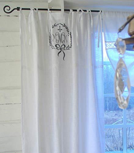 LillaBelle Vorhang Joel GRAU Gardine 120x240 cm 2 Stück Gardinenschals Bandaufhängung Bestickt Grau