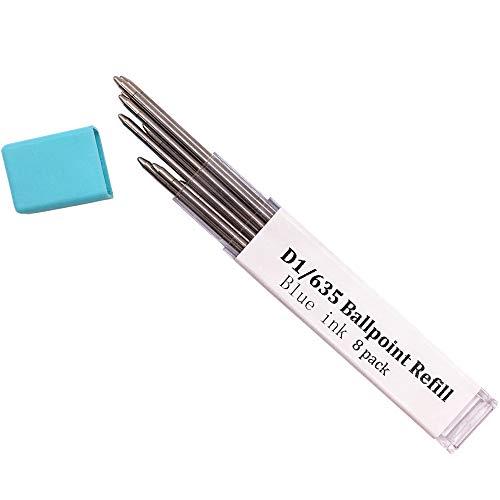 Ballpoint Pen Metal Mini Refill D1/635 Refill- Medium Point Refill for Multifunction Pen,Mini Pen Compact Pen(Blue ink 8 pack)