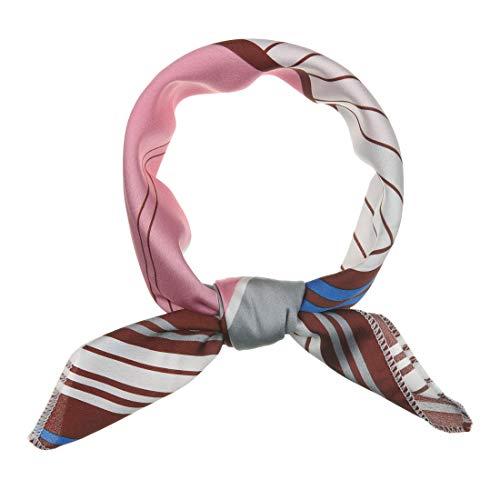 Sourcingmap - Pañuelo para mujer (50 cm), diseño de rayas Rosa rosa 50*50 cm/19.69*19.69' (L*W)