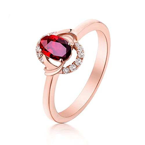 Beydodo Anillos de Oro Rosa Mujer 18 K Oro Rosa Oval Rubí Rojo Blanco 0.46ct Anillo Talla 20