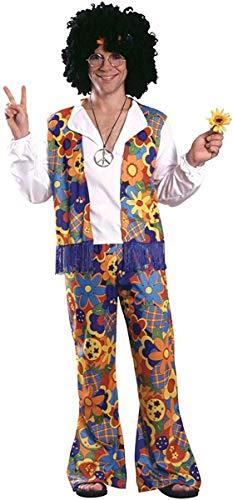 Disfraz de Hippie para adultos (hombre), ropa colorida con flores - Talla única (Rubie