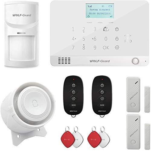 Wolf Guard MR1 GSM - Sistema de alarma para el hogar (esfera automática, control de aplicación, viene con sensor de movimiento, sensor de ventana de puerta