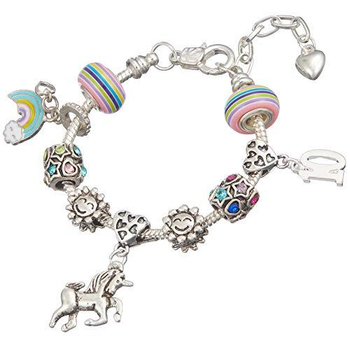Jewellery Hut - Braccialetto con ciondolo a forma di unicorno, in confezione regalo, per bambine da 1 a 13 anni e placcato Argento, cod. BRSLUNICORN1-13