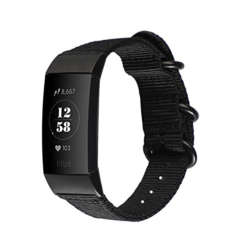 Yaoket Tejida Correa Compatible con Fitbit Charge 3/3 SE/4, Reemplazo Tejido Ajustable Bandas Deporte Pulsera (Negro)