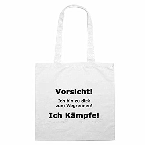 Tasche Umhängetasche Motiv Nr. 3193 Vorsicht Zu Dick Fett Spass Lustig Einkaufstasche Schulbeutel Turnbeutel 38x 42cm in