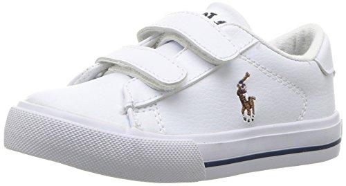 Polo Ralph Lauren Kids Baby Easton II EZ Sneaker, White Tumbled Multi pop, 7 Medium US Toddler