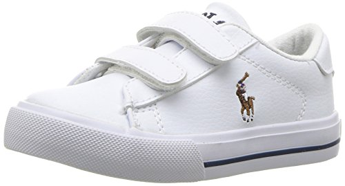 Polo Ralph Lauren Kids Baby Easton II EZ Sneaker, White Tumbled Multi Pop, 10 Medium US Toddler