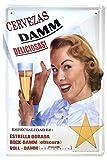 DiiliHiiri Cartel de Chapa Vintage Decoración, Letrero A4 Estilo Antiguo de metálico Retro. (Cervezas Damm)
