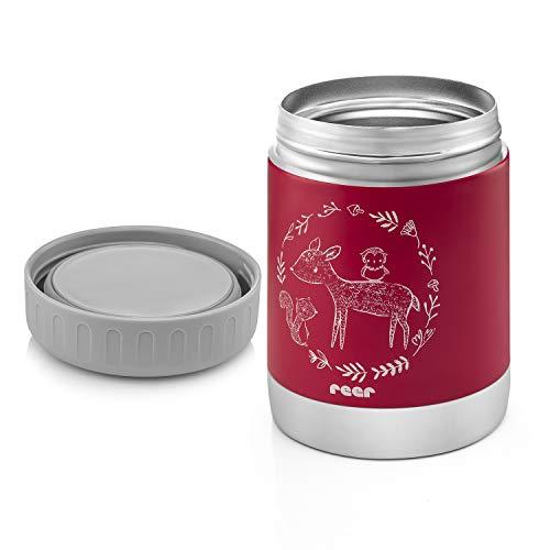 Reer Edelstahl-Warmhalte-Box ColourDesign für Baby-Nahrung mit praktischem Anti-Rutschboden, 300ml, beerenrot 90412