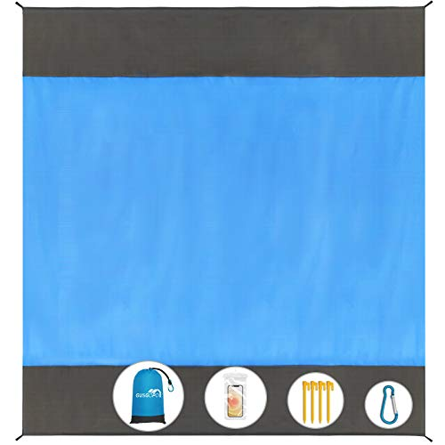 Gusgopo Beach Blanket, 79''×83'' Picnic Blankets Waterproof Sandproof for 4-7 Adults, Oversized Lightweight Beach Mat, Portable Picnic Mat, SandProof...