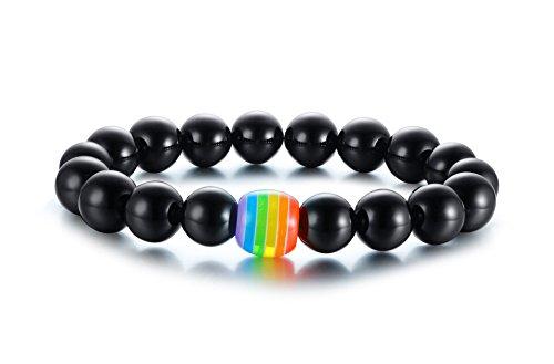 VNOX Rainbow Handmade Black Onyx Stone Beads Pulsera Orgullo Gay y Lésbico