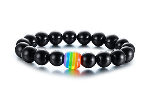 VNOX Rainbow Handmade Black Onyx Stein Perlen Armband Homosexuell & Lesben Pride