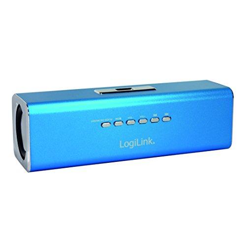 LogiLink SP0038B DiscoLady Soundbox, MP3-Player über USB Stick oder Micro-SD Speicherkarte, integriertes FM-Radio, ideal für die Party zu Hause und/oder Unterwegs, Blau