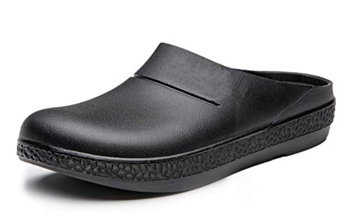 INiceslipper Women and Men Freesail Plush Clog Nursing Shoes Chef Shoes Work Slip Resistant Work Shoe for Adults,Mule (8m/9w/41) Black
