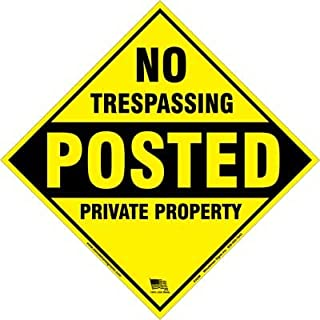 Minuteman Signs | Diamond NO TRESPASSING Posted Private Property Quality Poly Posted Sign 6 Pack