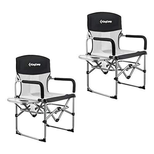 KingCamp Heavy Duty Camping Folding Director Chair Oversize Padded Seat with Side Table and Side Pockets, Supports to 300 lbs (Black(2 Pack))