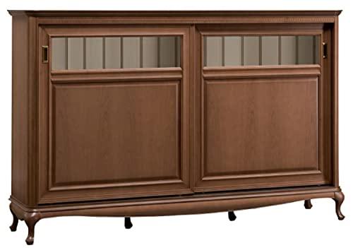 Casa Padrino Luxus Jugendstil Sideboard Braun/Cremefarben 191,7 x 45,6 x H. 122,3 cm - Massivholz Schrank mit 2 Schiebetüren - Wohnzimmerschrank - Büroschrank - Barock & Jugendstil Möbel
