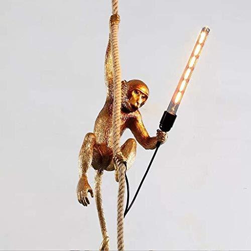 Floor lamp Moderne verlichting lamp licht Creative Monkey Chandelier Resin Restaurant Henneptouw plafondlamp Woonkamer Opknoping Lampen Vloerlamp Plank Lamp LED (Color : Gold)