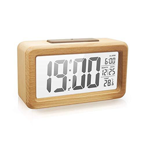 Wecker mit Hintergrundbeleuchtung, Holz Digital Wecker, Einfache LED Uhr mit Dual Alarm, Datum, Temperatur, 12/24h schaltbar, massives Eichenholz, batteriebetrieben