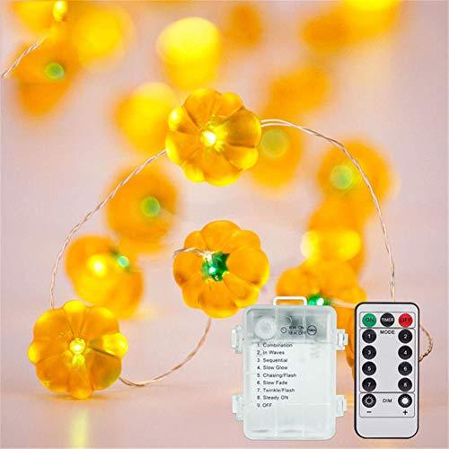 Lichtketting pompoen lichtketting 2 m 20 LEDs 8 modi waterdicht met afstandsbediening buiten- en binnenverlichting voor Kerstmis, bruiloft, feest