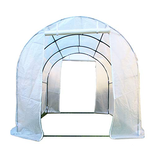 HWF Large Outdoor Tunnel Garden Patio Greenhouse, with Powder Coating Metal Steel Frame, Reinforced PE Cover, Windows and 2 Zipped Door - White (Size : 200x200x200cm)