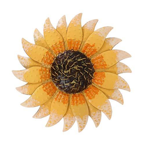 Cabilock Iron Sunflower Wall Decor Metal Flower Wall Art Floral Sunflower Wall Sculpture for Interior Outdoor Bedroom Garden