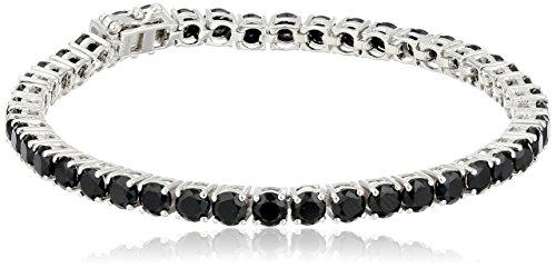 Sterling Silver Black Spinel Round Tennis Bracelet, 7.25