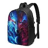 BYTKMFD Mochila de viaje con diseño de lobo animal, mochila escolar antirrobo, para hombre y mujer, con puerto de carga USB de 17 pulgadas, Negro, Talla única