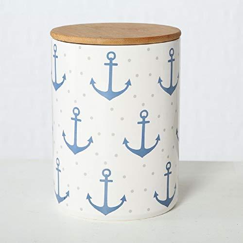 Home Collection Steingut Vorratsdose mit Bambusdeckel und Silikondichtung (luftdicht) Anker blau mit Punkten H19cm D14cm