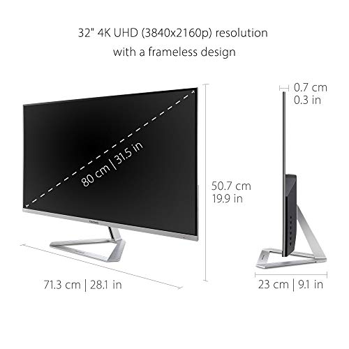 ViewSonic VX3276-4K-MHD 32 Inch Frameless 4K UHD Monitor with HDR10 HDMI and DisplayPort for Home and Office,Gray