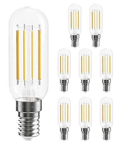 SHINESTAR 8-Pack Dimmable T6 E12 LED Bulb 40 watt Equivalent, 2700K Warm White, LED Candelabra Light Bulbs for Chandelier, Ceiling Fan, 120V Clear Small LED Edison Bulb