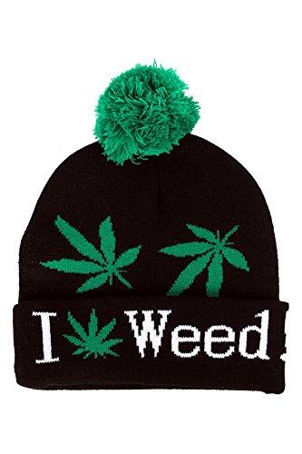 I Love feuilles d'herbe Cannabis Bonnet de ski avec pompon casquette - Noir, Taille Unique