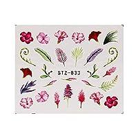 MZRB 19のデザインネイルステッカーグリーンリーフフラミンゴの花サボテン水デカールネイルアートの装飾ラップフレークスライダーマニキュア (Color : STZ 833)