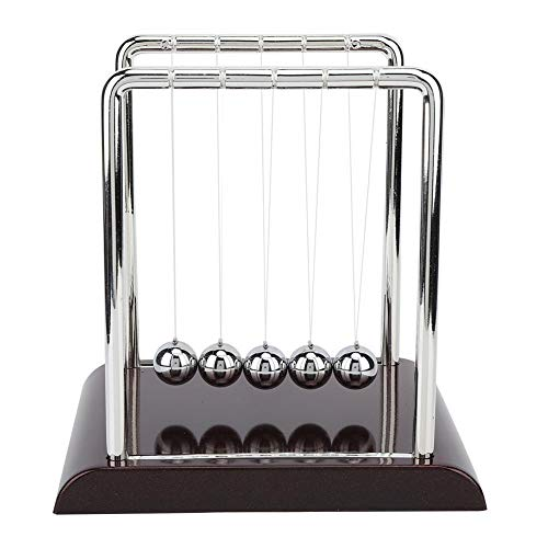 Cuna de Newton, Bola de Péndulo de Equilibrio de Forma Cuadrada Bolas de Metal Sólido Juguetes Clásicos Escritorio de Oficina Ornamento FíSica Juguetes para Decoración del Hogar, Regalo para Niños(L)