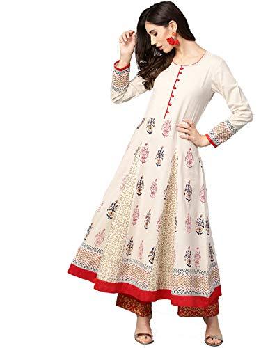 Hiral Designer Mall Indian Túnica Tops elegante algodón Anarkali Kurti para las mujeres - Blanco - XL