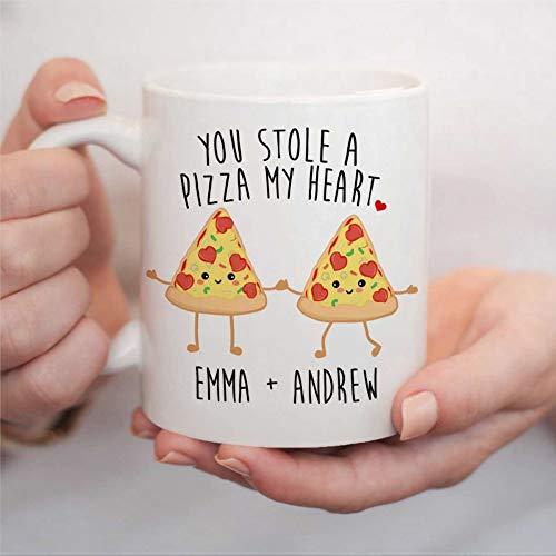 You Stole A Pizza My Heart Mug Personalized With Couple's Names Couples Coffee Mug Valentine's Day Ceramic Cup Mug Engagement Wedding Mug