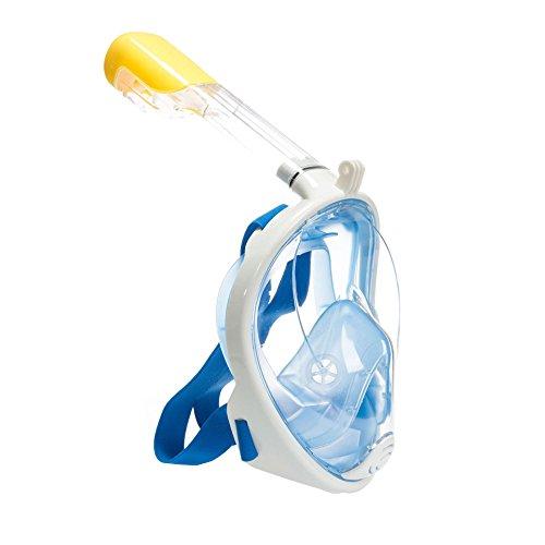 Tauchmaske,Schnorchelmaske,Tauchmasken Vollgesicht,Schnorchelmaske Kinder Erwachsene mit Anti-Beschlag Beschichtung 180 ° View Design (blau S/M)