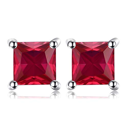 JewelryPalace Square 0.8ct Erstellt Rot Rubin 925 Sterling Silber Ohrstecker