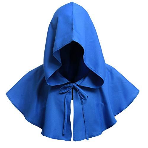jinqiao Halloween-Mönch-Hut für Männer und Frauen, Mittelalterlicher Hut, Renaissance, Mönch, Cosplay, Kapuzenumhang blau