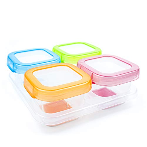 AAMUEE Healthy Baby Food Blocks Containers & Storage with Lids for Infants, Toddlers & Kids   Airtight, BPA Free Silicon, Leak Proof & Soft Base Design  4 Pcs & 4 oz   Ideal for Daycare, Snack & Puree