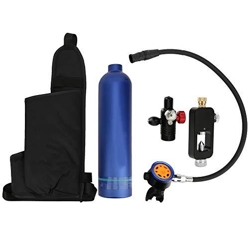Tanque de oxígeno de buceo | Kit de cilindro de oxígeno azul 1L | Tanques de buceo al aire libre Buceo Cilindro de oxígeno Rebreather Aparato de respiración subacuático Equipo de buceo para respaldo d