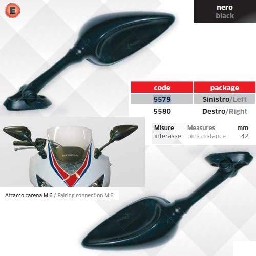 Compatible con Kawasaki ZZR 600 Pareja DE Espejos DE Casco para Motocicleta Espejo Aprobado M.6 Ataque