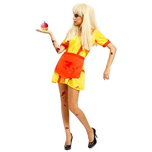 SurePromise Uniforme da Cameriera Broke Girls Zombie,Costume Halloween Donna,L
