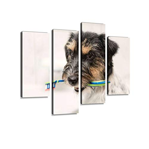 Dog Sits with Toothbrush in Bathroom Sink - Jack Russell Terrier Canvas Wall Art Hanging Paintings Modern Artwork Abstract Picture Prints Home Decoration Gift Unique Designed Framed 4 Panel